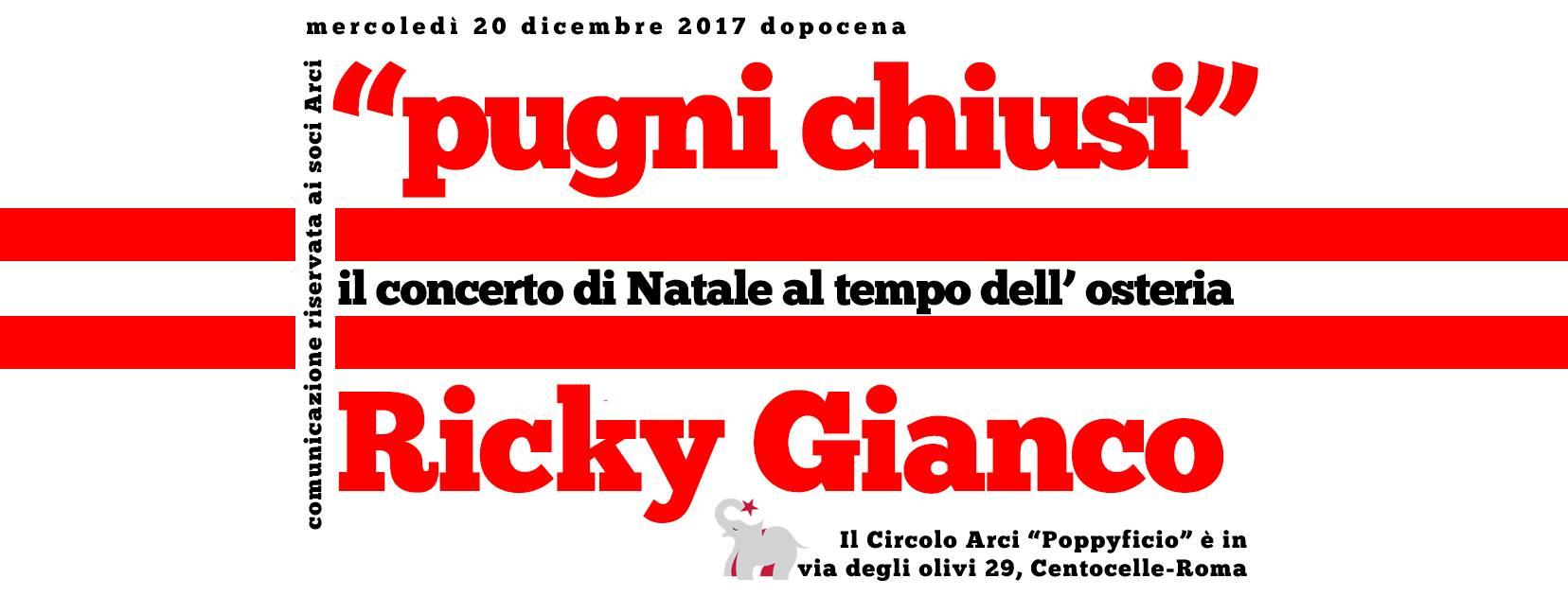 Locandina Ricky Gianco Roma 20.12.2017