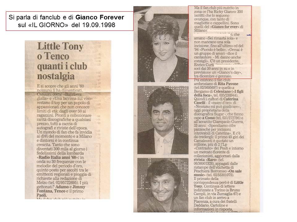 """Si parla di Fan Club e di Gianco Forever su """"Il Giorno"""" del 19.09.1998"""