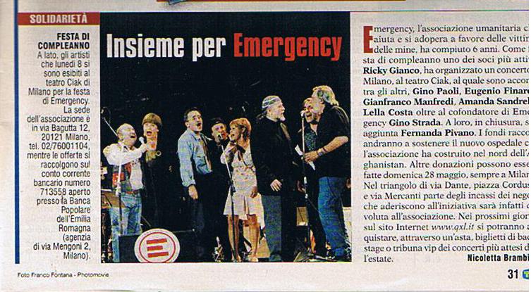 """Teatro Ciak diMilano - Sesto compleanno di """"Emergency"""" (8 maggio 2001)."""